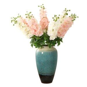 Цветы одной ветви дельфиниум Ajacis 80см Длина Мода Орхидея DIY искусственного шелка цветок Белый Розовый Свадебные украшения дома