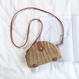 Yeni Kadınlar Mini Messenger Bag Kore Sürüm Stil Omuz Çanta Hasır Dokuma Moda Harajuku İlköğretim Renk Crossbody Çanta