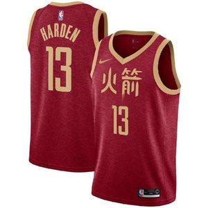 Rouge pour les hommes Cousu Jersey Nombres 13 James Harden Vêtements de basket-ball Soft Top authentique de haute qualité Suture Petit