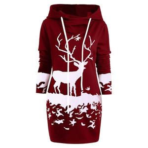 JAYCOSIN 2018 New Staly Fashion Clothes Womens Christmas Monochrome Reindeer Printed Hooded Drawstring Coat Autumn 18Nov7 MX200613