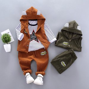 Spring Autumn Children Baby Casual Hooded Vest Pants 3pcs sets Infant Sports Clothes Outfit Toddler Suits Boys Kids Tracksuits