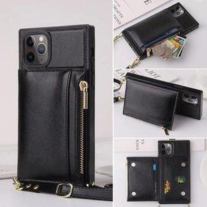 Vintage Vegan Zipper Portafoglio in pelle Catena della copertura posteriore della borsa di Crossbody Kickstand Telefono Shell per iPhone Pro 11 Samsung S20 Ultra S10 Inoltre S9