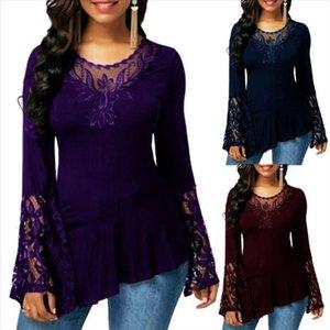 Solid Color Camisetas Mulheres Streetwear camisetas gola shirt O Casual Mulheres Autumn Long Neck Sleeve Lace costura Irregular Hem T Shirt