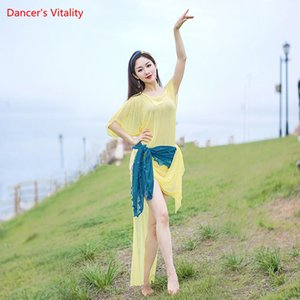 Belly Dance Suit New Female Elegant Robe+Hip Scarf+Headscarf+ Underpants 4 Piece Set Summer Oriental Dancing Practice Clothes
