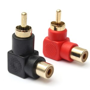 1000pcs lots Factory wholesale RCA Connector Plug Adapters Male to Female 90 degree Right Angle M F Gold Plated