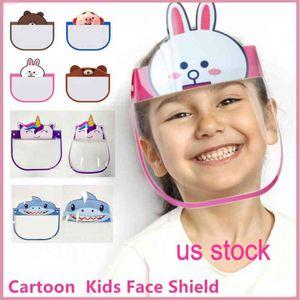 DHL nette 10 PC-Kind-Karikatur-Gesichts-Schild Transparent Schutzmasken Staubdichtes Anti-Fog Gesichtsschutz Anti-Staub-windundurchlässige PET Partei-Schablone