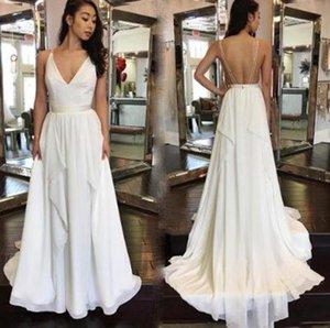 A Line chiffon Wedding Dresses Beach Bridal gowns Backless 2020 african modest wedding gown vestidos de noiva vintage women dress