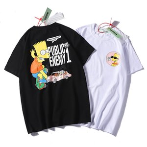 OFF Simpson sunglasses shirt men ow white casual sports loose round neck short sleeve T-shirt men and women
