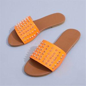 Dener KİT'ler Slaytlar Yaz Beac Kapalı Düz G Sandalet Terlik Ouse Terlikler Wit Spike Sandal MEN KADIN F2 # 336