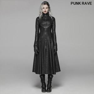 Punk Sahne Performansı bağlama Kadınlar Uzun Palto Gotik Klasik siyah Fermuar Standı Yaka Maxi Hendek ceket PUNK RAVE WY-1065XCF