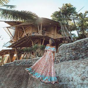 2019 summer printed long dress sexy flounces one-line collar large swing dress for women big long skirt big skirt