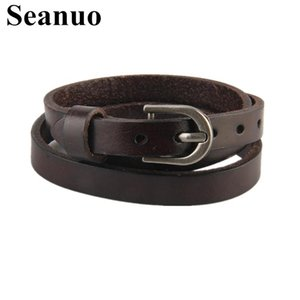 Seanuo 63.5*1CM 3 Layes Wristband Belt Leather Bracelet Jewelry For Men Women Fashion Punk Hiphop Male Charm Wrap Sport Bracelet