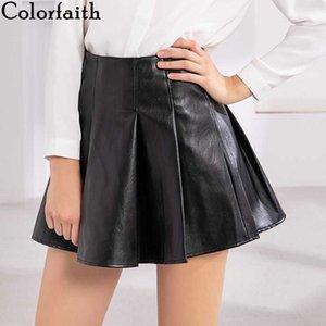 Colorfaith Nouveau 2020 femmes en cuir PU Jupe Automne Hiver Mode Empire plissés Ensemble Hip Mini jupe patineuse solide Femme SK080
