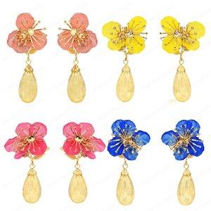 4 Colors Spring Style Flower-shaped Drop Dangle Earrings with Acrylic Rhinestone Stud Earrings for Women