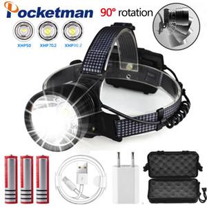 Lampe frontale USB rechargeable LED xhp90.2 puissant phare XHP70 Zoom torche phare de pêche de haute puissance avec LED Camping