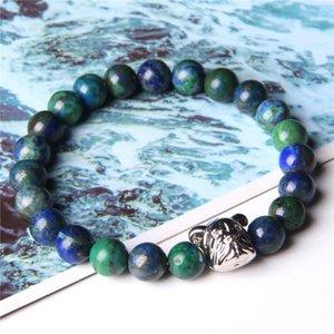 Men Bracelets Natural Phoenix Lapis Lazuli Bracelet Polished Stone Beads Bangle Silver Color Puppy Dog Pet Charm Pulsera Jewelry