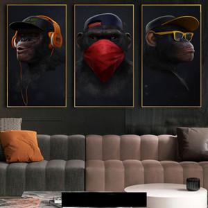 Pitture murali divertente scimmia Musica scimmia con maschera Poster e stampe d'arte a muro Immagini per Living Room Decor (No Frame)