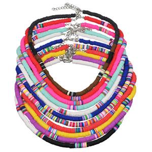 New Retro Bohême Céramique molle Perles Choker Neckalce pour femmes Bijoux Cadeaux coloré Handmad Lien chaîne clavicule Sautoirs métalliques Colliers