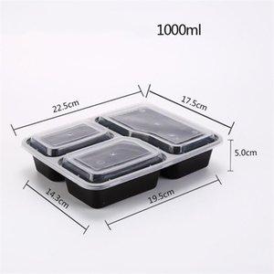 일회용 포장 상자 플라스틱 세 그리드 패스트 푸드 상자 1000ml의 런치 박스 투명 뚜껑 내열 도시락 전자 레인지 사용 A03