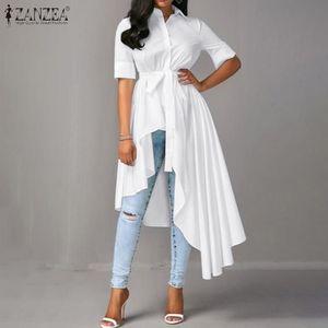 Fashion Belt High Low Blouse ZANZEA Summer Tunic Tops Solid Asymmetrical Shirt Vestidos Women Casual Short Sleeve Blusas Chemise Y200622