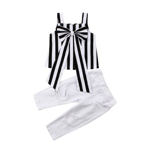 kids designer clothes 2020 Summer Baby Girls Outfits Girls Sets Plaid Clothing Shoulder-straps Bow Stripe Top Long Pants Child Outfits 2 Pcs