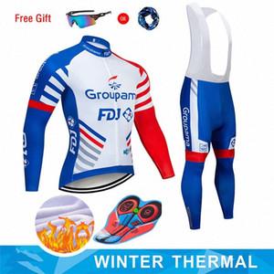 Moxilyn 2019 GROUPAMA FDJ 팀 사이클링 저지 및 9D 자전거 롱 설정 로파 Ciclismo 남성 겨울 양털 자전거 의류 남성 H39t 번호를 따뜻하게