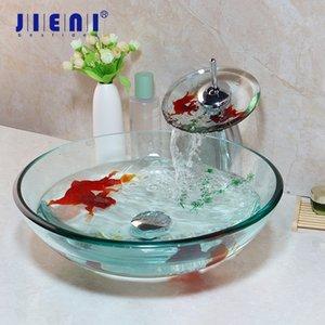 JIENI закаленное стекло ванной сосуд Раковина Водопад хром латунь кран Combo Gold Fish Art Design Glass Совмещенный Basin Set