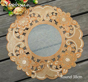 Modern Lace sequin placemat cup embroidery coffee mug kitchen Christmas table place mat cloth doilies dining pad