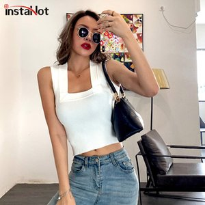 InstaHot sleeveless crop tops women summer square collar solid tank tops casual streetwear club party 2020 fashion vest