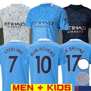 2020 2021 Top Tailândia STERLING De Bruyne KUN Agüero 19 20 21 manchester camisa cidade camisa de futebol camisa de futebol conjuntos homens crianças kit uniformes