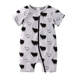 New Infant Baby Boys Clothes Cartoon Animal Short Sleeve Rompers Newborn Baby Cotton Clothing Toddler Boys sheep Pajamas