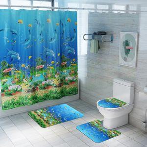 Ponto Submarine animal de chuveiro Waterproof Cortina de quatro peças WC Mat Set Banho Models Cortina Início de explosão