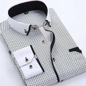 Erkek Elbise Gömlek Tasarımcı Rahat Slim Fit Uzun Kollu Iş Gömlek Erkek Nokta Baskı Sonbahar Örgün Pamuk Gömlek Erkekler Yeni Marka