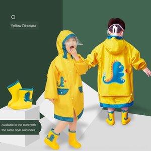 Pupila Schoolbag Cloak crianças capa de chuva menino chuva engrenagem mochila de dinossauro com capa de chuva poncho bebê menina grande criança criança do jardim de infância