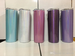 20oz Stainless Steel Skinny Tumbler Rainbow Tumblers Glitter Tumblers Vacuum Insulated Beer Coffee Mugs with Lid and Straw free shipping
