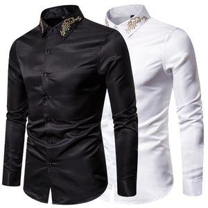 Mens Dress Shirts Mens arbeiten beiläufige dünne feste T-Shirts High End-Stickerei-Geschäfts-formale Kleid-Größe 2XL