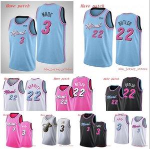 Homens e mulheres camisa de basquete MiamiCalor3 DwayneWade 22 Butler swingman jersey bule sem mangas vermelha e calça