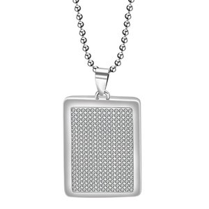 Fashion Woman Jewelry Pendant Necklaces 60cm Leghth Clear CZ crystal Pave Stainless Steel Rectangle necklace for women