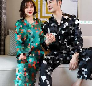Grado superiore stampato Coppia moda pigiameria ghiaccio seta casuale camicie da notte di alta qualità raso romantico Sexy Pigiama