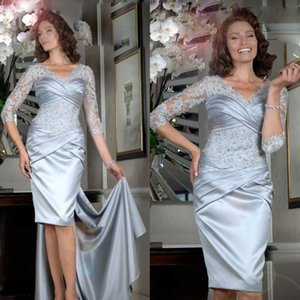 Elegant Satin Mermaid Mother of the Bride Dresses V Neck Lace Appliques Beaded Evening Gowns Long Sleeves Knee-Length Wedding Guest Dress