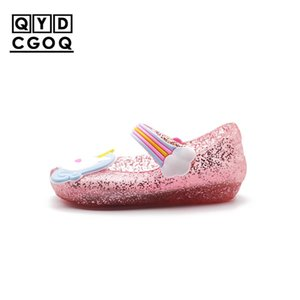 Mini Melissa Style Cute Unicorn Jelly Sandals 2018 New Girls Shoes Jelly Shoes Dargon Sandals Girl Non-slip Kids Sandals Toddler Y200619
