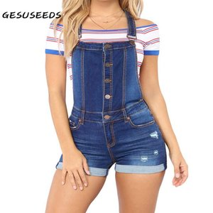 Summer short denim overalls women high waists jumpsuit ripped hole jeans casual distressed rompers blue navy solid rolled