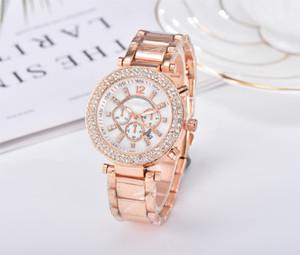 Berühmter michael Frauen Strass Uhren Mode-Kleid-Dame-Uhr-Frauen Luxus Roségold Uhr-Edelstahl-Quarz-Uhr Geschenk
