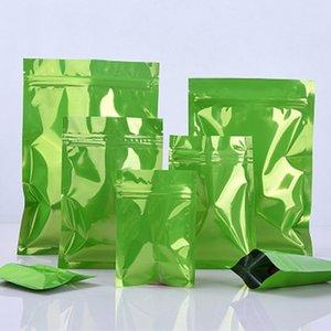 100pcs lot Reusable Aluminum Foil Bag, Aluminized Zipper Bag, Flat Bottom Tea Food Packaging, Metal Sealed Bag, Matte Green