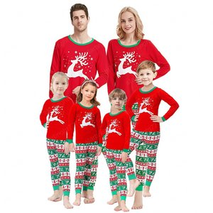 Family Matching Outfits Clothing Set Christmas Cartoon Deer Print Pajamas Xmas Adult Kids Cute Nightwear Pyjamas Sleepwear Suit