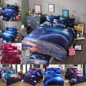 3D Bedclothes Galaxy edredon cobrir Set gêmeo Lençois Define Universo O espaço King Size Comferter Bedding Sets Single Duplo