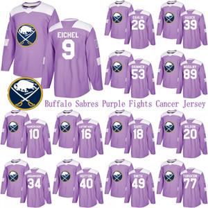 Buffalo Sabres Purple Hockey Fights Cancer Jersey 9 Jack Eichel 26 Rasmus Dahlin 53 Jeff Skinner 55 Rasmus Ristolainen Hockey Jerseys