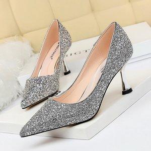 여성 발 뒤꿈치 여성 신발 브랜드 여성 펌프 사무실 숙녀 작업 단단한 뾰족한 발가락 드레스 신발 봄 가을