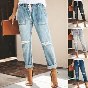 Fsahion-Women Shredded Jeans High Waist Jeans Sexy denim Harem Pants womens High Streetwear loose Pants Black Women