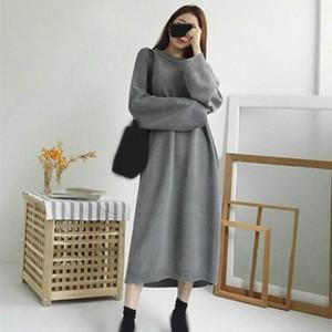 Herbst-Winter-Dick-Pullover-Strickjacke-Kleid-Frauen koreanische Chic Batwing langes Kleid beiläufige lose Big Size Strickkleider 1drJ #